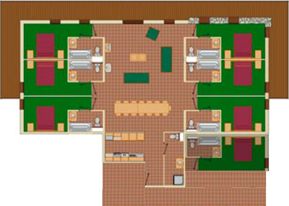 12-15 Person Apartment Plan